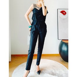 Discount women s embroidered pants Spring and summer 2020 Embroidered Beaded double layer silk women's Leggings Harun cropped pants Jumpsuit
