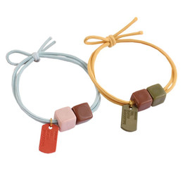 resin rings NZ - 5Pcs Girl Kids Elastic Rubber Hair Ropes Candy Color Resin Square Bead Hair Ring