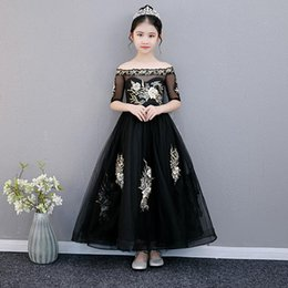 costume wedding dresses kids NZ - Girls Runway Dress Kids Girl Flower Embroidery Black Long Dresses for Party Princess Birthday Gift Wedding Dress Cosplay Costume S396