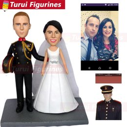 Wedding Figures Australia - custom wedding funny cake topper personalize from your wedding photos to clay dolls handmade pottery sculpture miniature figures