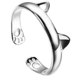 couple ring cat 2019 - 925 Silver Plated Rings Cat Ring Female Opening Chinchillas Ears Paws Tail Ring Live Mouth Ring Glossy Jewelry Free Ship