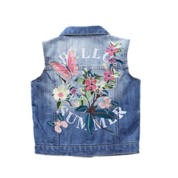 $enCountryForm.capitalKeyWord Australia - Denim Girls Vest Spring Autumn kids jean jackets Children's Clothing Pretty Butterfly Embroidery Denim Waistcoat For girls coat