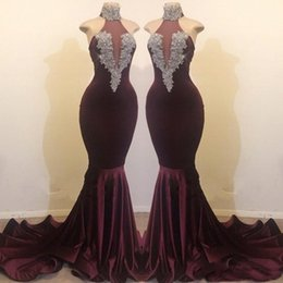 Beaded Mermaid Prom Pageant Dress Australia - 2019 Sexy Burgundy Velvet Prom Dresses Mermaid Halter Appliques Beaded Backless Sweep Train Party Dress Pageant Evening Dress Formal Gowns