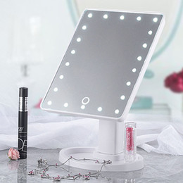 Rotating Touch Screen Australia - Compact Mirrors 16 22 LED Lights Touch Screen Makeup Mirrors Vanity Mirror With Health Beauty Adjustable Countertop 360 Rotating