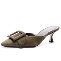 $enCountryForm.capitalKeyWord Australia - Women's Genuine Leather Blue Mules 5.5 CM High Heels Plus Size 42 Summer Slippers Sexy Woman Slides Shoe Box Packing M620