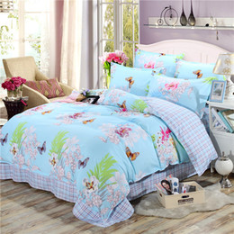 butterfly bedding queen NZ - New Product Spring Floral and Butterfly Printed Bedding Set 3 4pc Bed Linen Twin Full Queen King Size Soft Duvet Cover Sets 2019