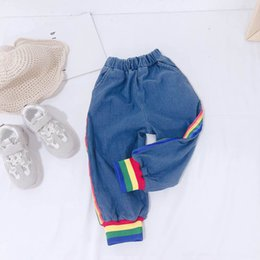 $enCountryForm.capitalKeyWord Australia - New rainbow kids jeans cute girls jeans kids designer clothes boys pants girls harem pants boys designer clothes boys clothes A7513