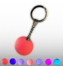emergency lighting key NZ - Mini 3D Print Moon Lamp LED Night Lights 4cm Keychain Moon Lamps Button Battery Powered Key Holder Bag Pendant Baby Gift