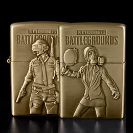 $enCountryForm.capitalKeyWord Australia - New PUBG Lighter Bronze Kerosene Oil Lighter Flint Refillable Gasoline Cigarette Metal Retro Gadgets for Men Battlegrounds