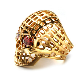 Punk Rings Australia - Vintage Skeleton Ring Jewelry 316L Stainless Steel Punk Style Hollow Skull Finger Ring for Man Gothic Ring Jewelry