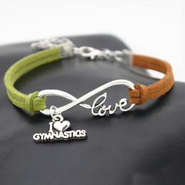 jewelry gymnastics Australia - New Fashion Silver Infinity Love Gymnastics Sports Pendant Cuff Bracelets Women Men Green Brown Leather Suede Rope Charm Jewelry Accessories