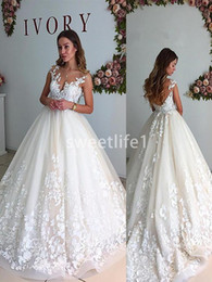 $enCountryForm.capitalKeyWord Australia - 2020 Elegant Ivory Lace Appliques Wedding Dresses Backless Sweep Train A Line Country Style Bridal Gowns Custom Made