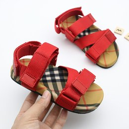 Comfortable Shoes Breathable Fabric Australia - Designer Kids Shoes vintage Toddler Summer Sandal Children Soft breathable Comfortable Baby Boys Girls Kid Beach Shoes black Red strip