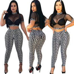 women sexy see through pants suit 2019 - Women Gauze Crop Top Leggings Outfits See Through Mesh Short Pullover + Slim Pants 2 Piece Set Designer Club Suit Sexy G