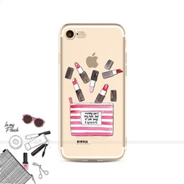 China For iPhone7 7Plus 6S 5 8 8Plus X XS Max SAMSUNG Fashion Sexy Lips Makeup Cosmetics Lipstick Powder Soft Clear Phone Case Fundas Ypf31-26 cheap blue purple lipstick suppliers