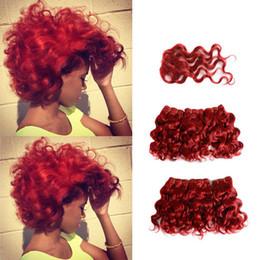 "human hair deep curly weave closure 2019 - Brazilian Red Deep Curly Human Hair Bundles with Closure Non Remy Virgin Hair Weave Short Human Hair Extensions 8"""