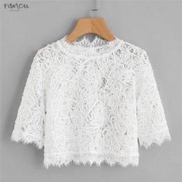 Plain blouses online shopping - Spring Hollow Out Blouse Eyelash Lace Lace Plain Crop White Round Neck Sleeve Slim Top Women Elegant Blouse