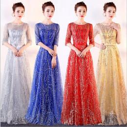 $enCountryForm.capitalKeyWord NZ - Designed official royal blue sheer late Chorus dress female dress long section Long banquet elegant adult long skirt choir costume