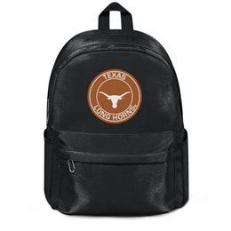 football chocolate UK - Texas Longhorns Round Logo Fashion Cinch Reusable Wool Shoulder Backpack Design Crazy Personalized Sports Woollen backpack football logo