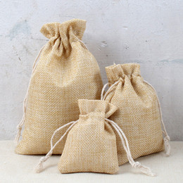 Wholesale cotton anniversary gift for sale – custom 5pcs New Arrived Natural Burlap Cotton Linen kids Candy Gift Bags Anniversary Cute Packaging Bags x9cm x14cm x18cm x20cm