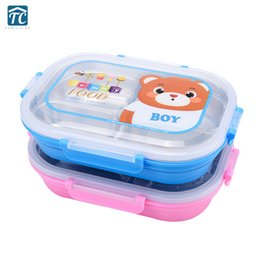 lunch box cartoons Australia - 304 Stainless Steel Insulated Lunch Box Children Divided Plate School Anti-scald Cartoon Cute Dinnerware Camping Food Container SH190928