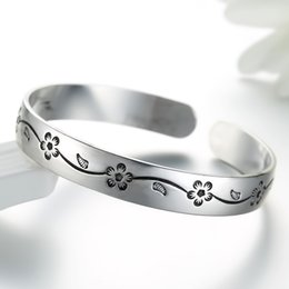 Fashion Bracelets Flower Design Australia - Classical Fashion Women Jewelry Silver Flower Design Cuff Bangle Bracelett