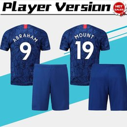 men s trajes azules al por mayor-Jugador de la versión Kits Abraham Home Blue Soccer Jerseys Men Soccer traje Monte Pulisic Football Uniforms Jersey Shorts