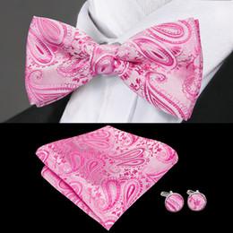 Быстрая доставка шелковый галстук бабочка набор розовый сплошной цвет жаккардовый тканый шелковый галстук бабочка Стандартная оптовая мода свадебное платье высокое качество LH-0702 на Распродаже