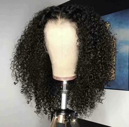 Kinky Peruvian Lace Wig Australia - Full Lace Human Hair Wigs Peruvian Remy 180% Density Kinky Curly Wig Free Part Bleached Knots Baby Hair natural hairline