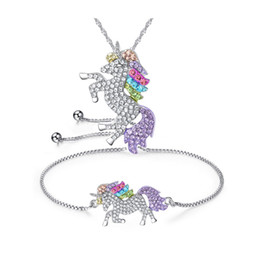 Horse Gifts Sale Australia - Hot Sale Women Girl Cartoon Unicorn Horse Crystal Pendant Necklace Bracelet Set Christmas Jewelry Lovely Gift