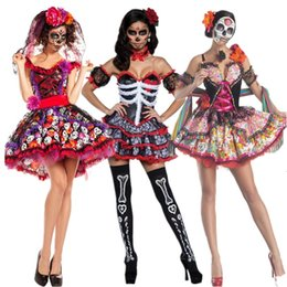 Wholesale sexy witch halloween fancy dress online – ideas Scary Skeleton Costume Halloween Cosplay Sexy Skull Devil Disguise Witch Women Fancy Dress Bride Carnival Party Dance Night Club