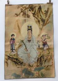 $enCountryForm.capitalKeyWord Australia - Tibet Collectable Silk Hand Painted Guanyin Little Boy Painting Thangka