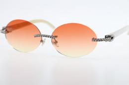 $enCountryForm.capitalKeyWord Australia - Wholesale Sunglasses diamond Rimless White Genuine Natural Horn Sunglasses T3524012 stone Glasses Oval Unisex Red Orange Hot