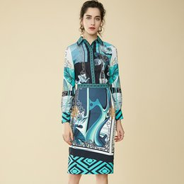 212be671403 Vintage Garden Water Lily Print Two-piece Women s Lapel Long-sleeved Shirt  + Slimming Pencil Middle Skirt Set Two Pcs Dress