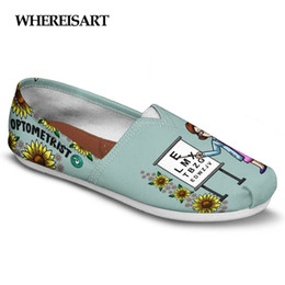 Custom Print Canvas Australia - WHEREISART Custom Optometrist Women Casual Shoes Summer Flats Lady Canvas Light Lazy Shoes for Female Walking Chaussures Femme