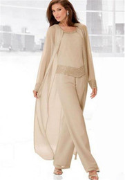 $enCountryForm.capitalKeyWord Australia - Champagne Three-Pieces Mother Suits With Long Jackets Long Sleeves Beaded Chiffon Mother's Pants Mother's Formal Wear