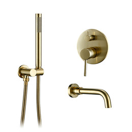 Contemporary Metal Wall Australia - Solid Brass Gold Shower Set Headshower Mixer Swivel Spout Bath Bath Faucet Wall-Mount Shower Arm Combo Set for Diverter Mixer