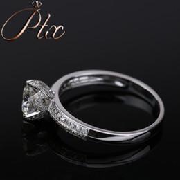 White Gold Moissanite Australia - 2019 hot 18k white gold DEF White Color Synthetic Moissanite Diamond Ring for women gift party luxury wearing