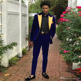 white suit gold trim Australia - Royal Blue Corduroy Men's Formal Tuxedos Two Buttons Peaked Lapel Trim Fit Wedding Wear Gold Trim Man's Winter Jacket and Pant