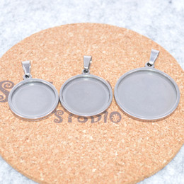 Diy Cabochon Pendant Australia - shukaki 20pcs round 18mm 20mm 25mm cabochon base stainless steel blank cameo trays diy pendant findings for diy jewelry necklace making