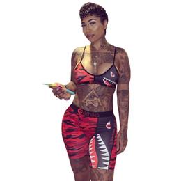 Ties bras online shopping - Women Camo Shark Swimwear Tie up Bra Pants set Tracksuit Short Pants Patchwork Shark Swimsuit Bikini sets OOA6416