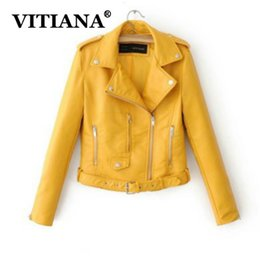 Wholesale leathers jackets resale online - VITIANA Women PU Leather Black Jacket Autumn Female Long Sleeve Zipper Turn Down Neck Faux Leathers Jackets Womens Coats