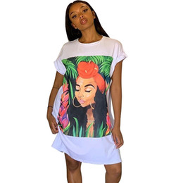 Wholesale long tunic t shirts for sale – custom Oversized T Shirt Dress Women Short Sleeve Character Print Tunic Mini Streetwear Dress Autumn Ladies Loose Short Casual Dress