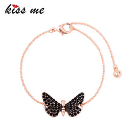 kiss beads Australia - KISS ME Black Rhinestone Butterfly Insect Charm Bracelet Female Unique Cute Party Bracelets for Women Fashion Jewelry