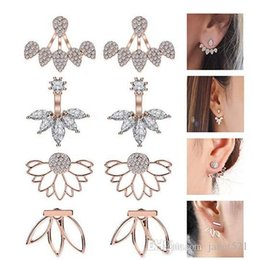 Jackets Studs Australia - Ear Jacket Lotus Flower Earrings Stud Jacket Earrings Simple Chic Earrings Back Cuffs Stud Jewelry Earring sets