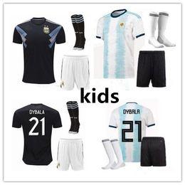 messi soccer socks 2019 - 2019 new Copa America Argentina Kids Kit Soccer Jersey 19 20 MESSI DYBALA MARADONA AGUERO HIGUAIN kids soccer jersey kit