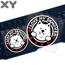 $enCountryForm.capitalKeyWord Australia - XY Pet Animal Stickers Cute Dog Vinyl Stickers Funny Samoyed Car Front Window Reflective Waterproof Decal