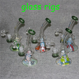 $enCountryForm.capitalKeyWord NZ - New rick and morty 14mm Female Mini Glass Bong Water Pipes Pyrex Oil Rigs Glass Bong Thick Recycler Oil Rig for Smoking Hookahs
