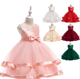 brands tutu for kids 2019 - Kids Flower Girls Dress Wedding Lace Flower Beaded Dress Elegant Princess Party Pageant Formal Gown for Toddler Children