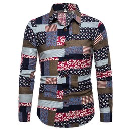$enCountryForm.capitalKeyWord Australia - Novelty Patchwork Style Male Printed Shirt Long Sleeve Linen Shirt Business Casual Clothes Europe Man Big Size 5XL Slim Blouse